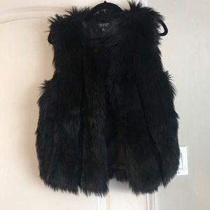 Top Shop black fur vest